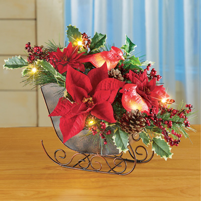 Lighted Sleigh Christmas Centerpiece with Cardinals