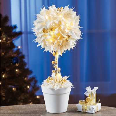 Lighted White Poinsettia Floral Decoration
