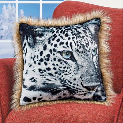 Fur Trim Snow Leopard Throw Pillow