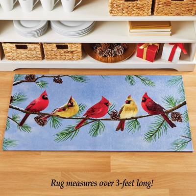Winter Cardinal and Pinecone Accent Rug