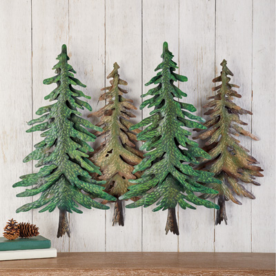 Evergreen Trees Metal Wall Art Rustic Cabin Decor