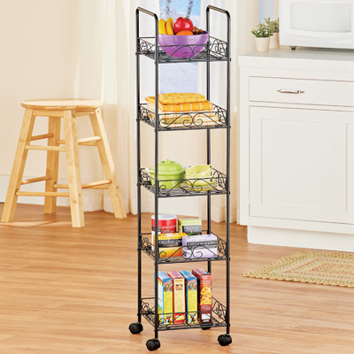 5-Tier Scroll Design Portable Tower with Shelves