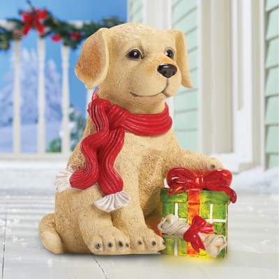 Outdoor Solar Lighted Puppy with Christmas Gift