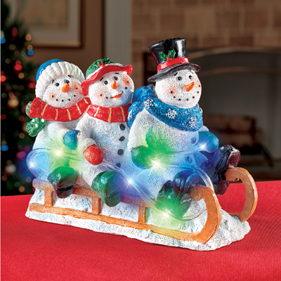 Light Up Sledding Snowmen Tabletop Decoration