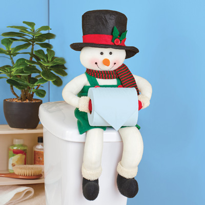 Snowman Toilet Paper Holder Holiday Bathroom Decor