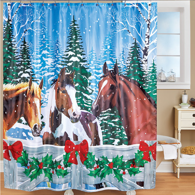 Christmas Horses Winter Scenic Shower Curtain From Collections Etc