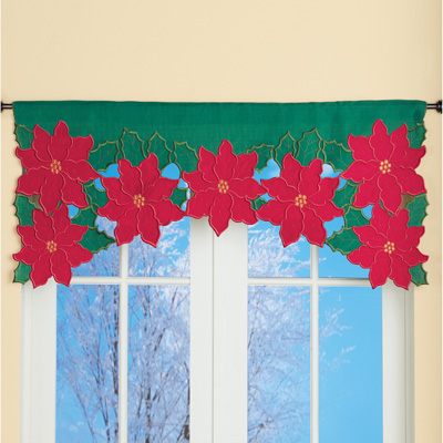 Embroidered Poinsettia Cut Out Valance