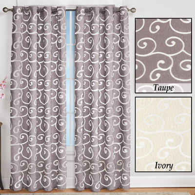 Faux Silk Scroll Sheer Design Curtain Panel