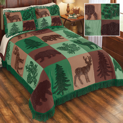 Forest Lodge Patchwork Chenille Bedspread