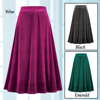 Elegant Velvet Full Sweep Holiday Skirt