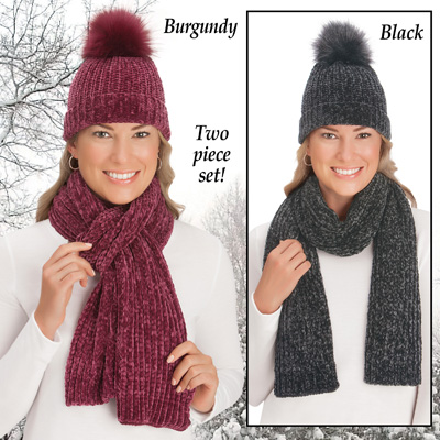 Soft Cable Knit Chenille Winter Scarf and Hat Set