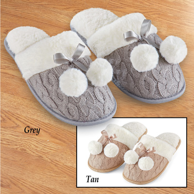 Skid-Resistant Cable Knit Pom Pom Slippers