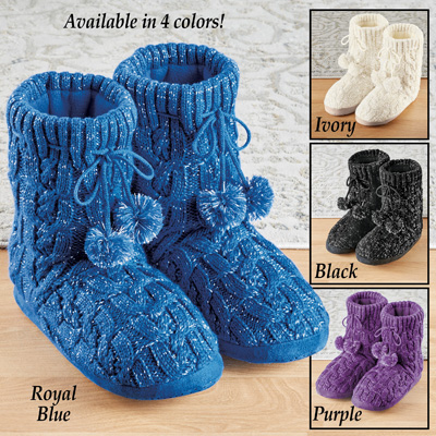 Lurex Cable Knit Slipper Boots with Fleece Lining