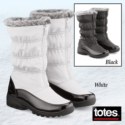 Totes Zip Front Waterproof Boots with Plush Lining