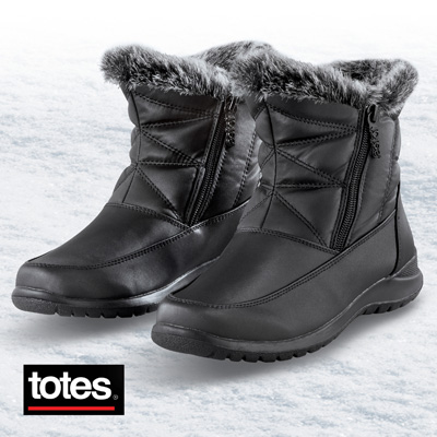 Totes Double-Zip Boots with Faux Fur Lining