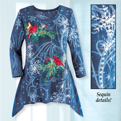 Sparkling Sequin Snowflakes Winter Tunic Top