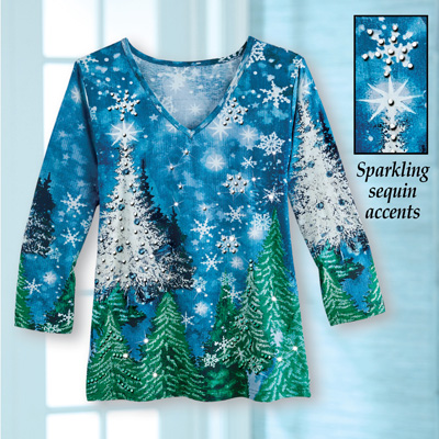 Silver and Blue Sparkle Winter Holiday Top