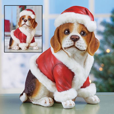 Christmas Beagle Holiday Dog Statue