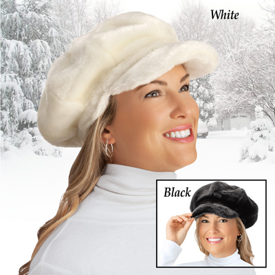 Women's Faux Fur Newsboy Winter Hat