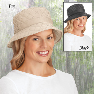 Quilted Water Resistant Rain Hat with Wide Brim