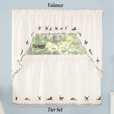 Adorable Cats Embroidered Curtains