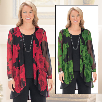 Large Floral Print Lightweight Cascade Cardigan