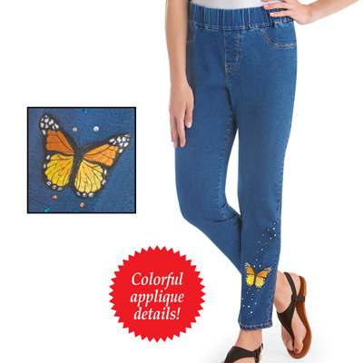 Butterfly Embellished Ankle-Length Jeans