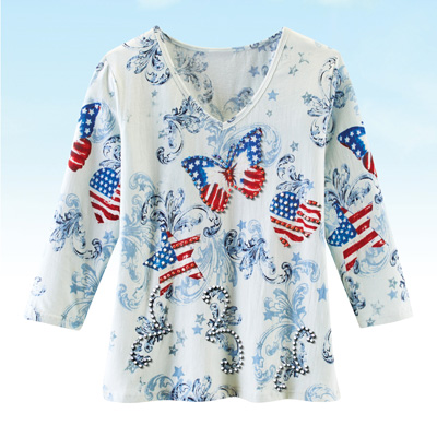 Americana Heart Scroll Print Top with 3/4 Sleeves