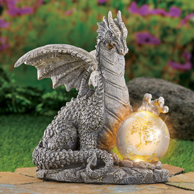 Solar Dragon Statue with Gazing Ball