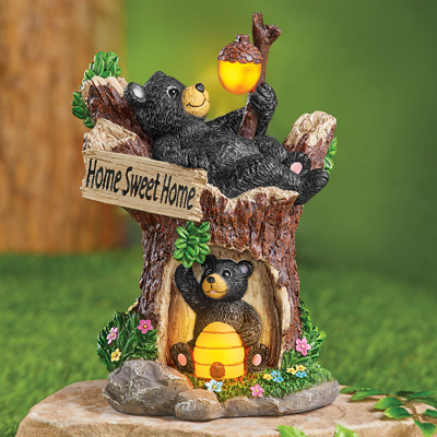 Home Sweet Home Black Bear Solar Garden Figurine