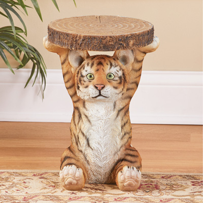 Tiger Cub Faux Log Accent Table