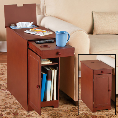 Wood Multi-Use Side Table with Flip Top and Drawer