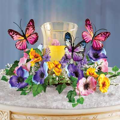 Faux Floral Candle Holder with Butterflies