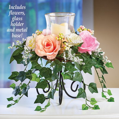 Roses with Cascading Ivy Candle Holder Centerpiece
