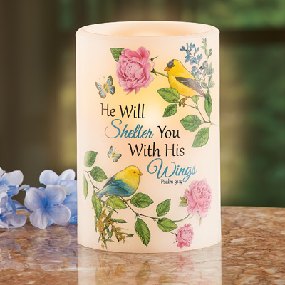 He Will Shelter You Bible Verse LED Candle