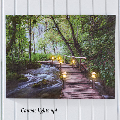 Lighted Bridge in Forest Canvas Wall Art