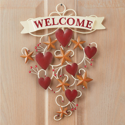 Primitive Welcome Wall Decor with Hearts and Stars