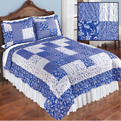 Cottage Escape Blue Floral Patchwork Quilt