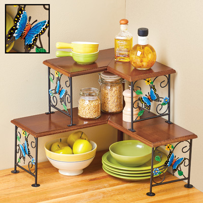 Kitchen Counter Corner Shelf with Butterfly Design