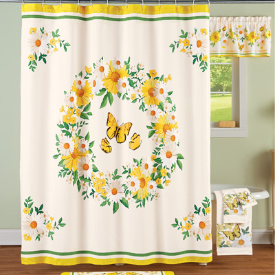Daisy Wreath and Butterfly Shower Curtain