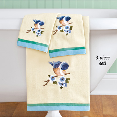 Bird Embroidered Towels with Ribbon Trim - Set of 3