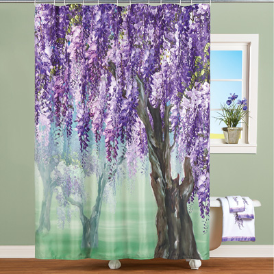 Lilac Wisteria Tree Shower Curtain
