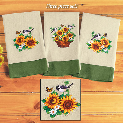 Woven Sunflower Towels - Set of 3