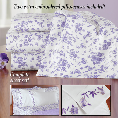 Lavender Floral Sheet Set with Extra Pillowcases
