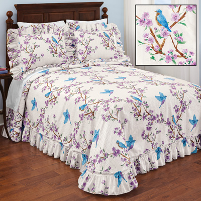Lilac and Bluebird Ruffled Bedspread