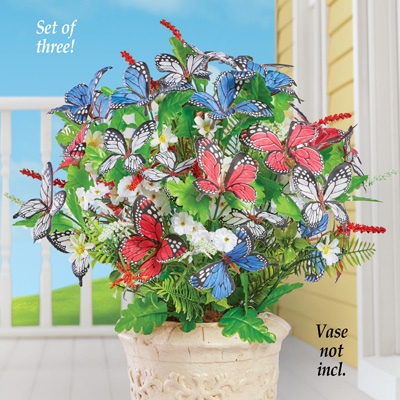 Patriotic Blossoms and Butterfly Bushes - Set of 3