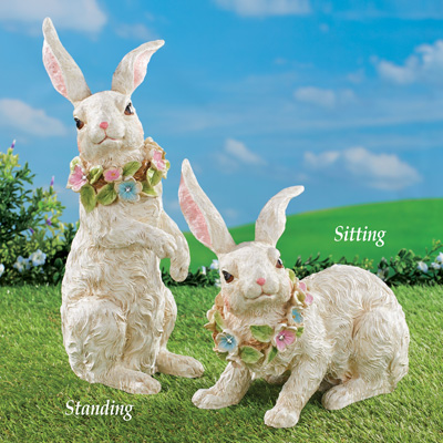 Floral Garland Accented Rabbit Statue