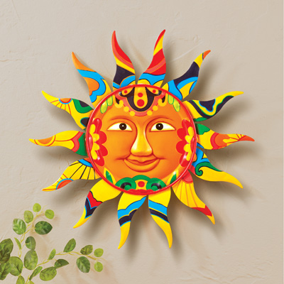 Colorful Patterned Smiling Sun Wall Decor