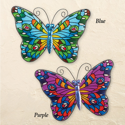 Colorful Glass Mosaic Butterfly Wall Art