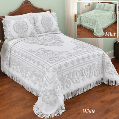 Sarah Chenille Bedspread with Scroll Medallion Design
